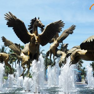 Bronze Flying Horse Statues Fountain